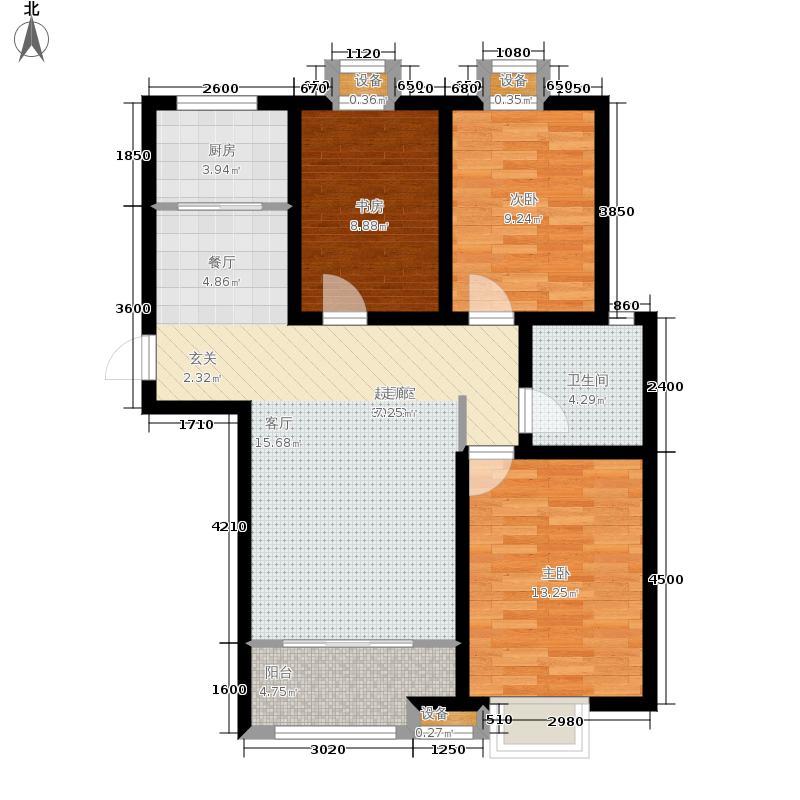 绿地隆悦公馆108.13㎡A2-E户型3室2厅