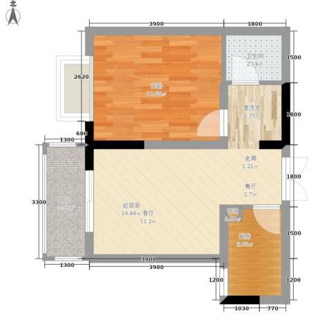 旭庆江湾国际花都1室0厅1卫1厨42.00㎡户型图