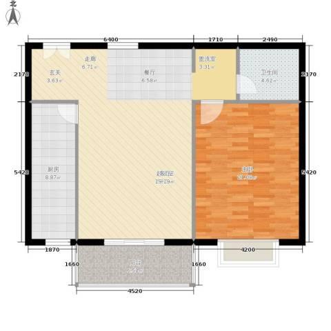 当代万国城1室0厅1卫1厨88.00㎡户型图