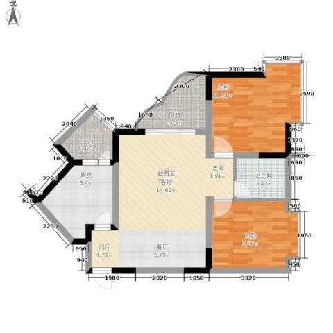 巴山夜雨2室0厅1卫1厨68.00㎡户型图