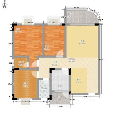 云辉丽都3室0厅2卫1厨126.00㎡户型图