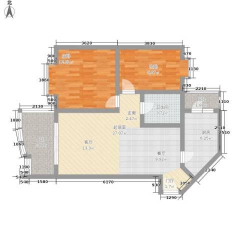 巴山夜雨2室0厅1卫1厨76.00㎡户型图