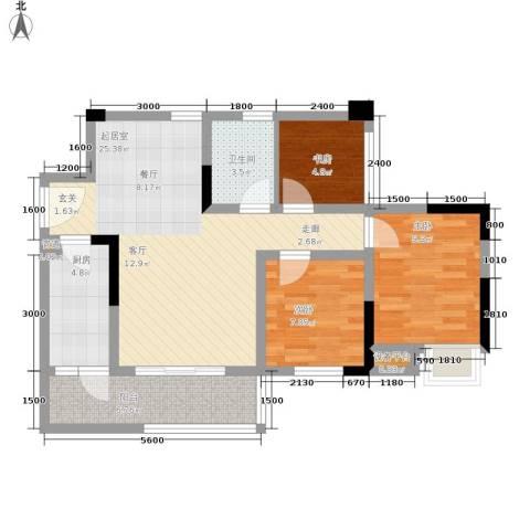 晶山新城际3室0厅1卫1厨92.00㎡户型图