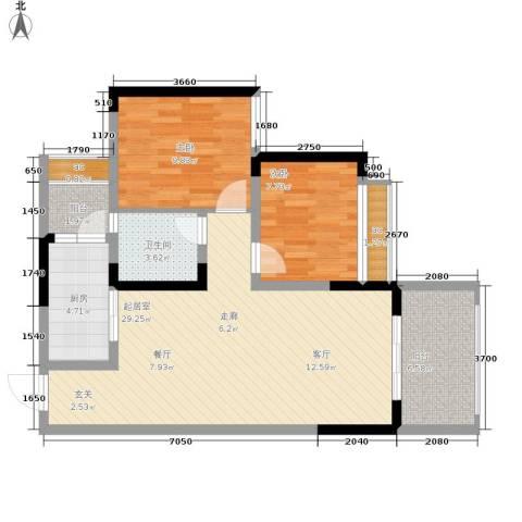 金科10年城2室0厅1卫1厨65.78㎡户型图