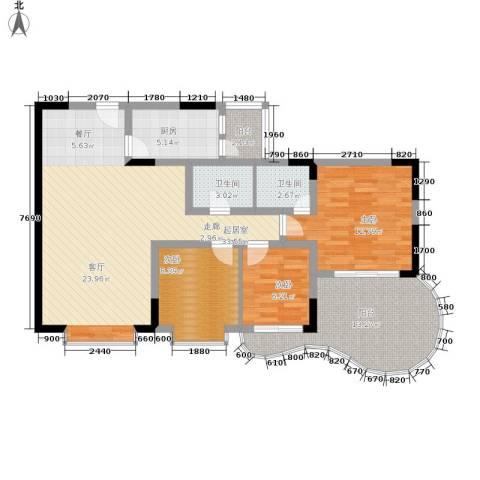 巴山夜雨3室0厅2卫1厨98.00㎡户型图