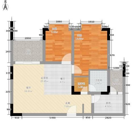 巴山夜雨2室0厅1卫1厨69.00㎡户型图