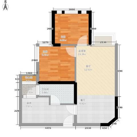 如恩岁月2室0厅1卫1厨51.00㎡户型图