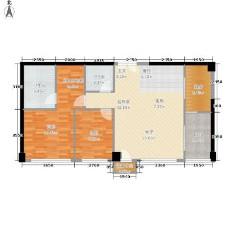 西钓鱼台嘉园2室0厅2卫1厨123.00㎡户型图
