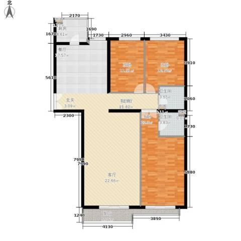 本家润园3室1厅2卫1厨140.00㎡户型图