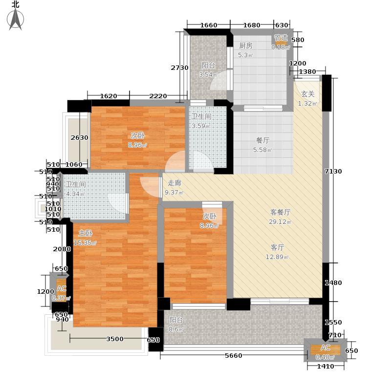 雅居乐清水湾110.64㎡蔚蓝高尔夫组团EA2洋房-3户型3室2厅