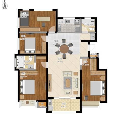 国贸仁皇4室1厅2卫1厨152.00㎡户型图