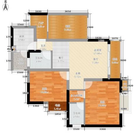 旭庆江湾国际花都2室0厅2卫1厨69.00㎡户型图