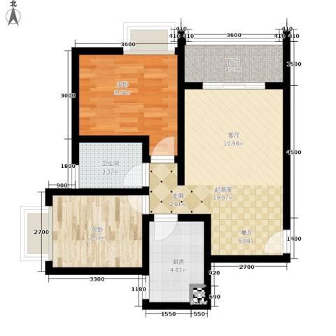 昌福盛景郦城2室0厅1卫1厨58.00㎡户型图