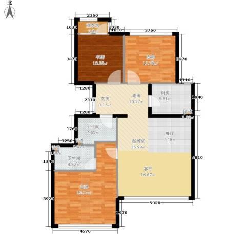 金地经典3室0厅2卫1厨107.00㎡户型图