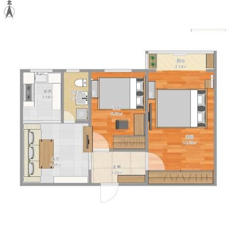 玉皇庄小区2室1厅1卫1厨56.00㎡户型图