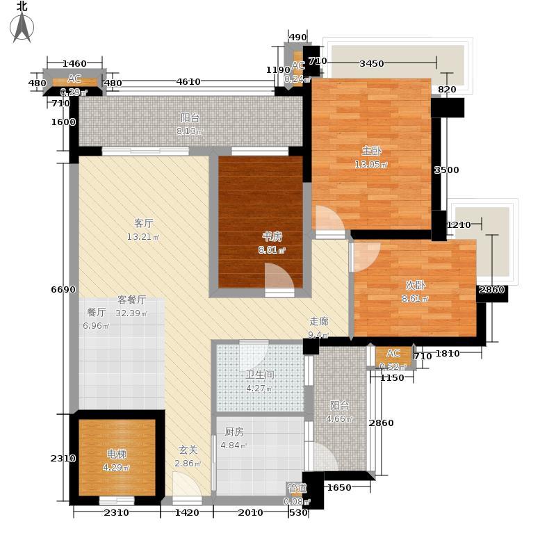 雅居乐清水湾101.00㎡洋房系EA2户型3室2厅