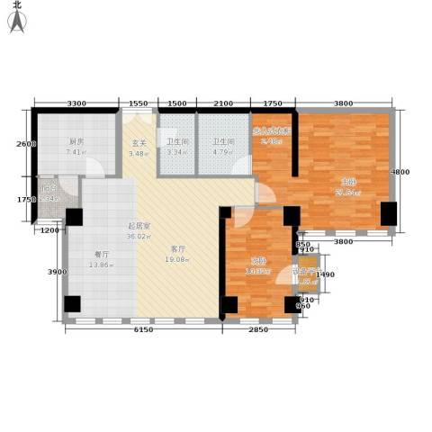 西钓鱼台嘉园2室0厅2卫1厨128.00㎡户型图