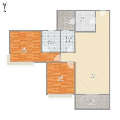 雅居乐熹玥2室1厅2卫1厨124.00㎡户型图