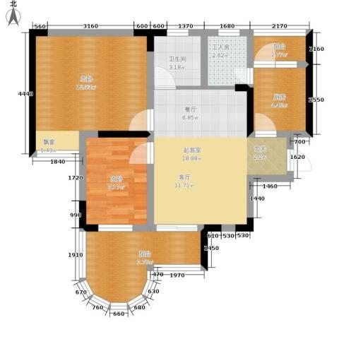 珠江华轩2室0厅1卫1厨71.78㎡户型图