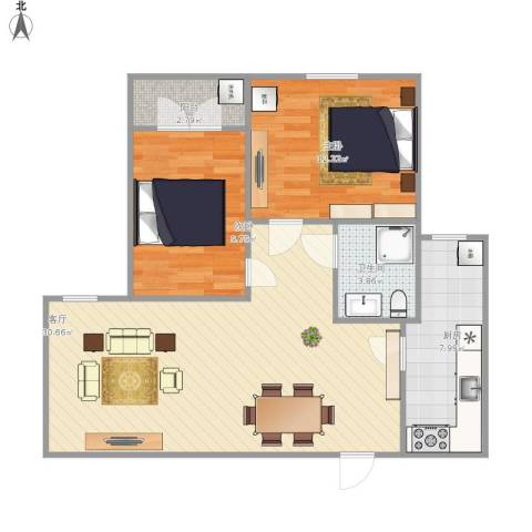 海珍苑2室1厅1卫1厨90.00㎡户型图