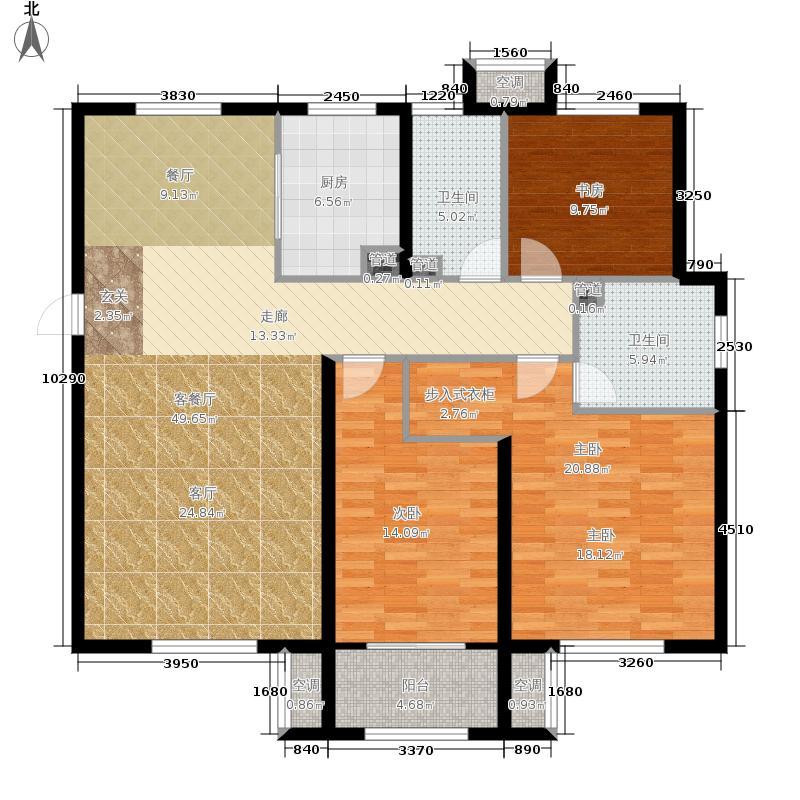 燕熙花园小镇134.00㎡H户型3室2厅