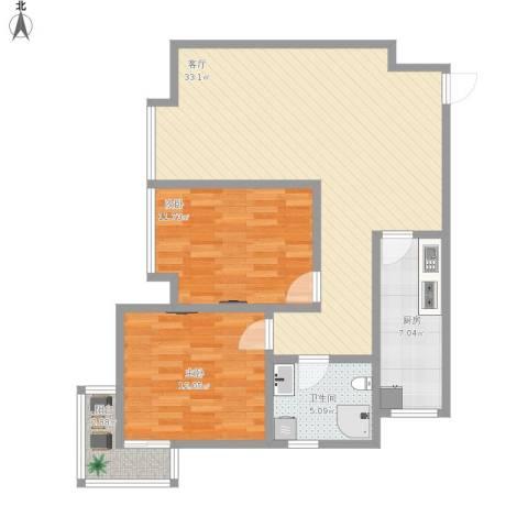 祯祥国际2室1厅1卫1厨102.00㎡户型图