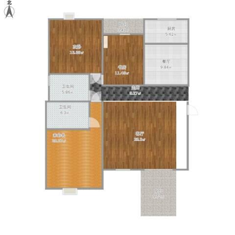 江南苑2室1厅2卫1厨101.00㎡户型图