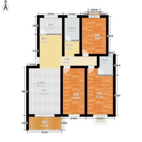 浦沅小区3室0厅2卫1厨84.00㎡户型图