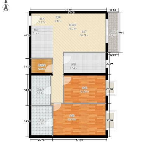 当代万国城2室0厅2卫1厨122.00㎡户型图