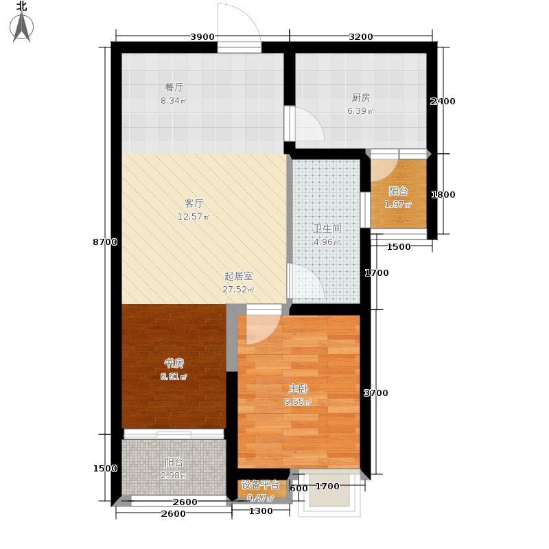 阳光100公园五区78.00㎡K9栋B1'户型2室2厅