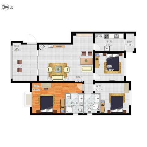 御府天苑3室1厅2卫1厨159.00㎡户型图