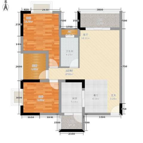 中国铁建中铁5号2室0厅1卫1厨74.00㎡户型图