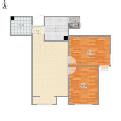 上榀座2室1厅1卫1厨75.00㎡户型图