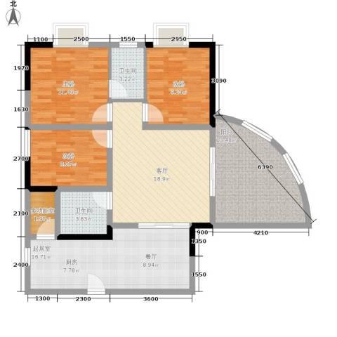 巴蜀怡苑3室1厅2卫0厨88.00㎡户型图