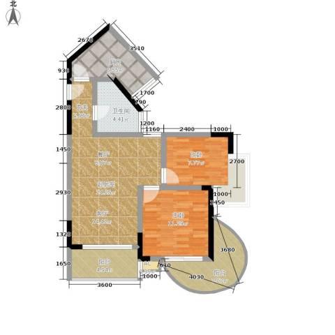 平安摩卡城2室0厅1卫1厨97.00㎡户型图