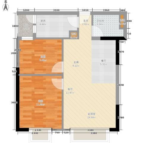 旭东家天下2室0厅1卫1厨59.00㎡户型图