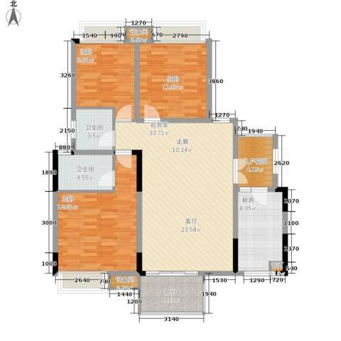 上城华府3室0厅2卫1厨113.00㎡户型图