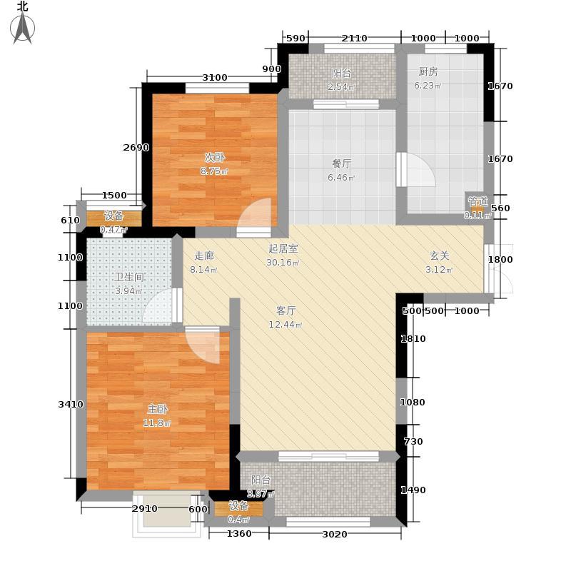 绿地.卢浮公馆94.00㎡绿地卢浮公馆C户型2室2厅