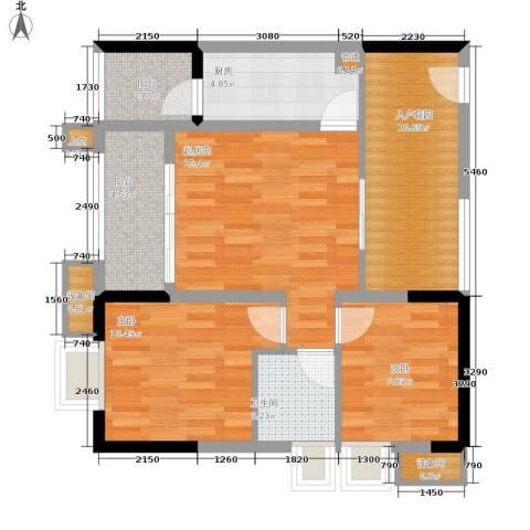 劲力五星城自由地2室0厅1卫1厨61.84㎡户型图