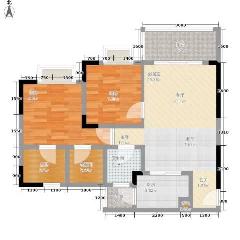 蜗牛公社2室0厅1卫1厨73.00㎡户型图