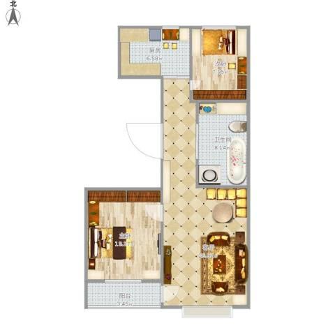 丰华・伊嘉园2室1厅1卫1厨89.00㎡户型图