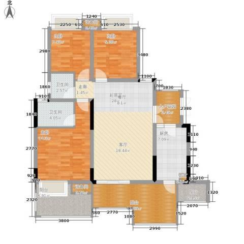 上城华府3室0厅2卫1厨116.00㎡户型图