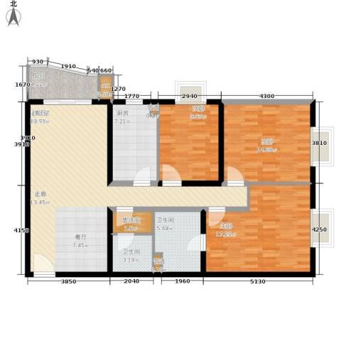 当代万国城3室0厅2卫1厨140.00㎡户型图