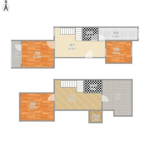 芍药居北里3室2厅2卫1厨125.00㎡户型图