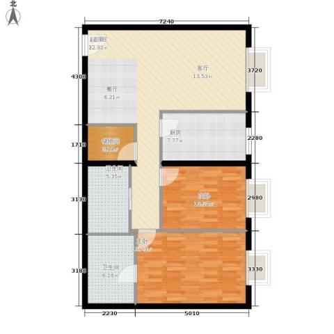 当代万国城2室0厅2卫1厨116.00㎡户型图