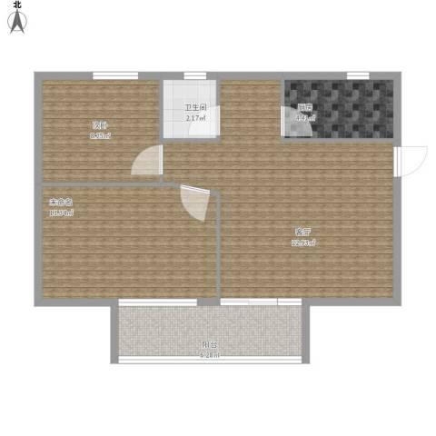 农科院小区1室1厅1卫1厨79.00㎡户型图