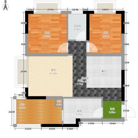 康田龙腾湾2室0厅1卫1厨64.00㎡户型图