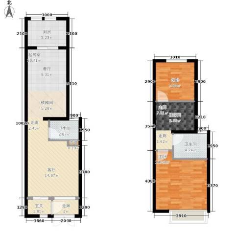 世茂英郡2室0厅2卫1厨108.00㎡户型图