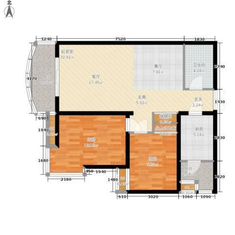 西豪逸景2室0厅1卫1厨108.00㎡户型图