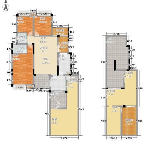 上城华府3室0厅2卫1厨224.83㎡户型图
